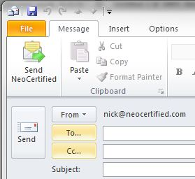 Encrypted Email for Outlook Send Button - NeoCertified Secure Email
